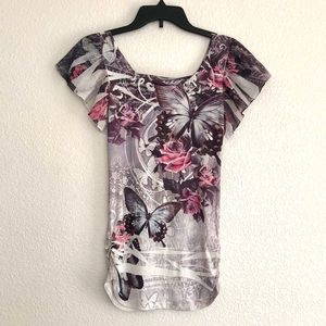 Floral Butterfly Form Fitting Top